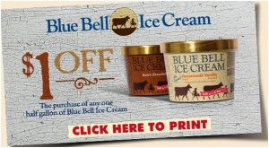 Bluebell Icecream…Yumm…and only $1.98/half gallon!