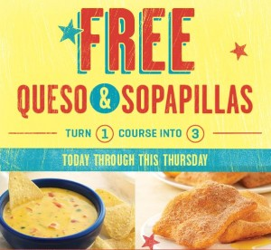 Free Queso and Sopapillas at One the Border!