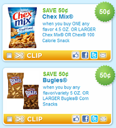 Print now and save to score .49 Chex Mix and Bugles next week!
