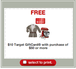 $10 Target Giftcard wyb $50 worth Printable Coupon