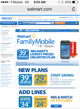 Walmart Family Mobile No Contract Low Price Cell Phone Plan