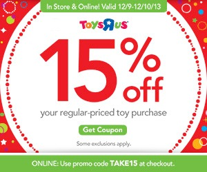 "Save 15% off Regular Priced Toys at Toys""R""Us #ToysRUs15"