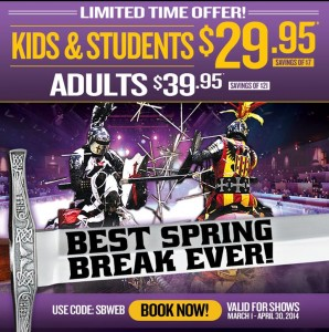 Spring Break Fun: Kids and Students only $29.95 at Medieval Times