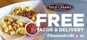 Free Taco's from Taco Cabana