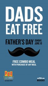 FREE Combo Meal for Dad at PDQ on Father's Day*