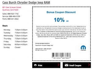 Extra Savings at Cass Burch Chrysler Jeep Dodge Ram