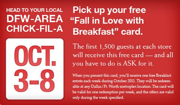 chickfila giveaway free breakfast at chickfila in dfw my crazy savings 2659